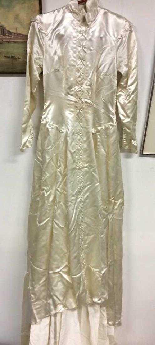 653099082ce SAKS FIFTH AVENUE Vintage Satin Wedding Dress. placeholder
