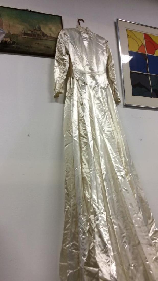 SAKS FIFTH AVENUE Vintage Satin Wedding Dress - 7