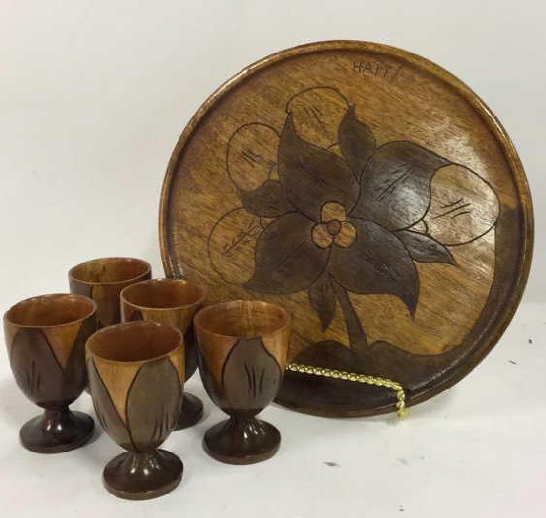 Lot 6 Haitian Wooden Tabletop Accessories