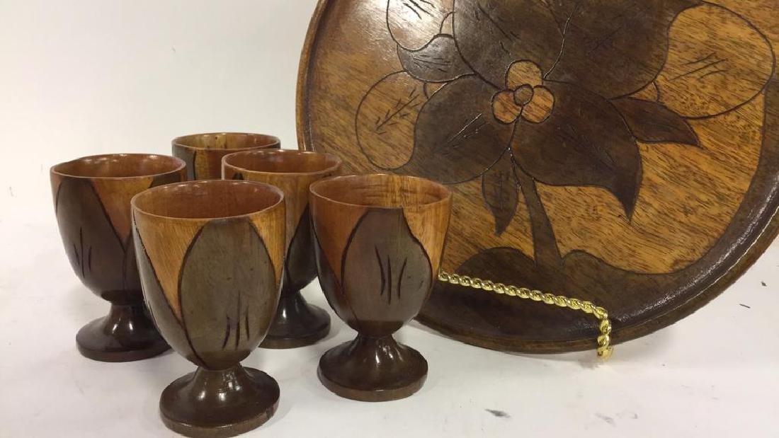 Lot 6 Haitian Wooden Tabletop Accessories - 2