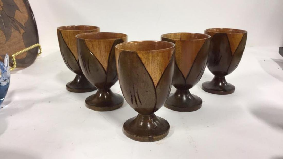Lot 6 Haitian Wooden Tabletop Accessories - 7