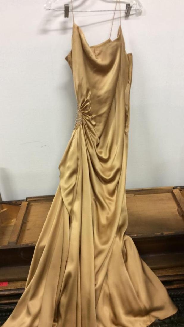 REEM ACRA NEW YORK Gold Toned Silk Gown