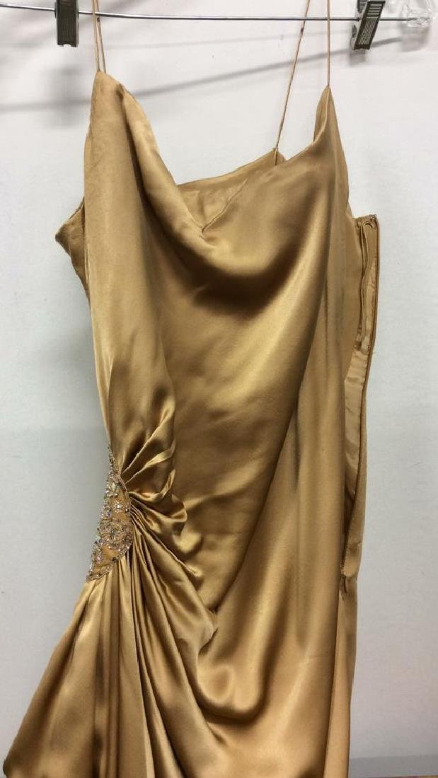 REEM ACRA NEW YORK Gold Toned Silk Gown - 2