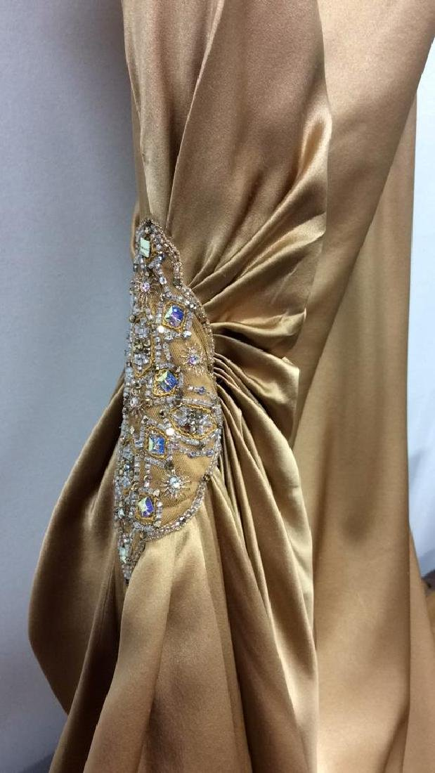 REEM ACRA NEW YORK Gold Toned Silk Gown - 3