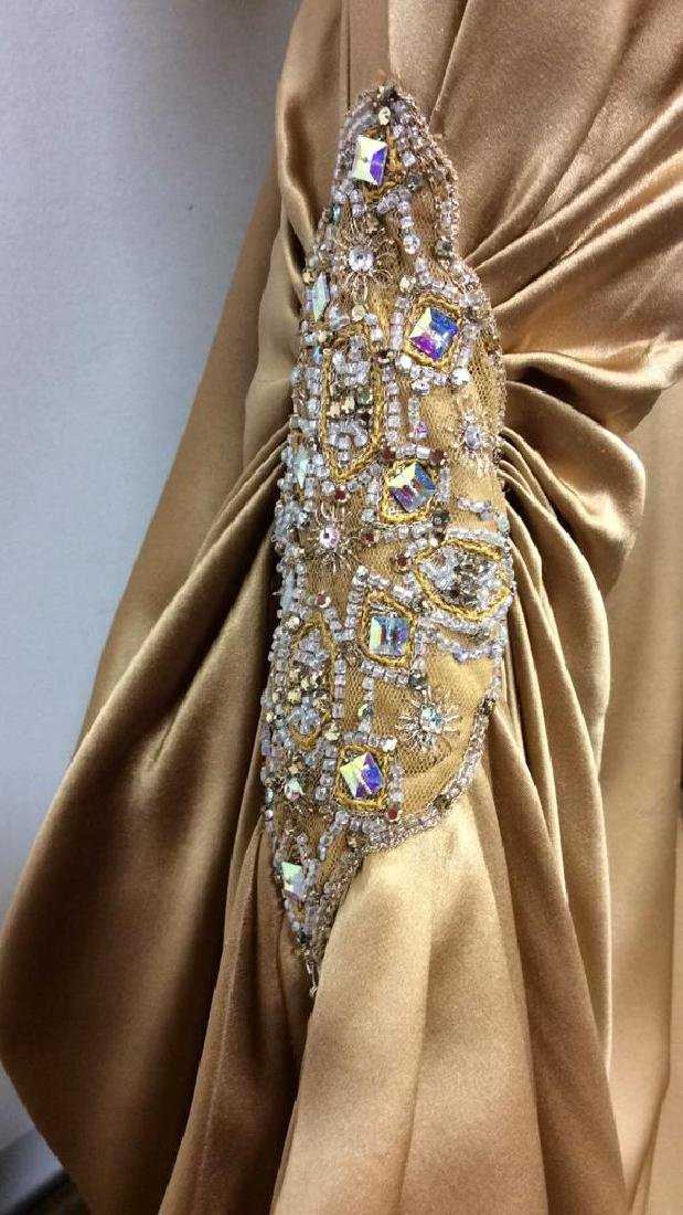 REEM ACRA NEW YORK Gold Toned Silk Gown - 4