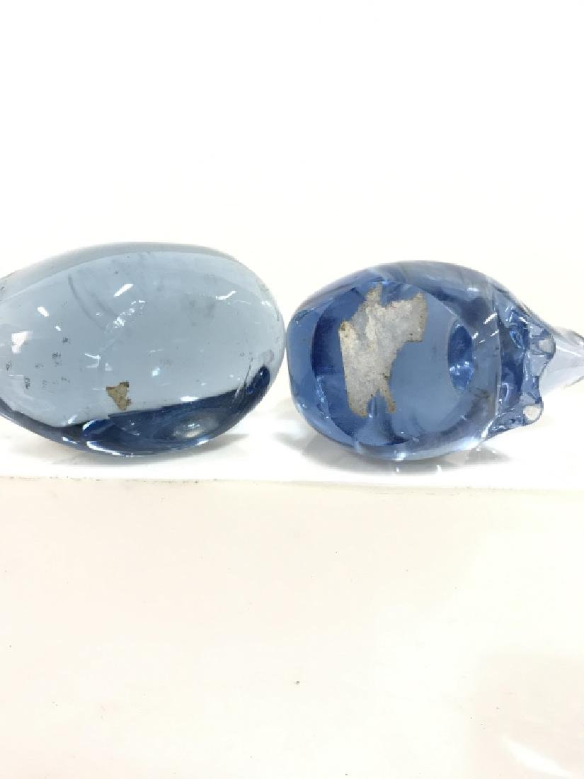 Pair Blue Toned Glass Animal Figurals - 8