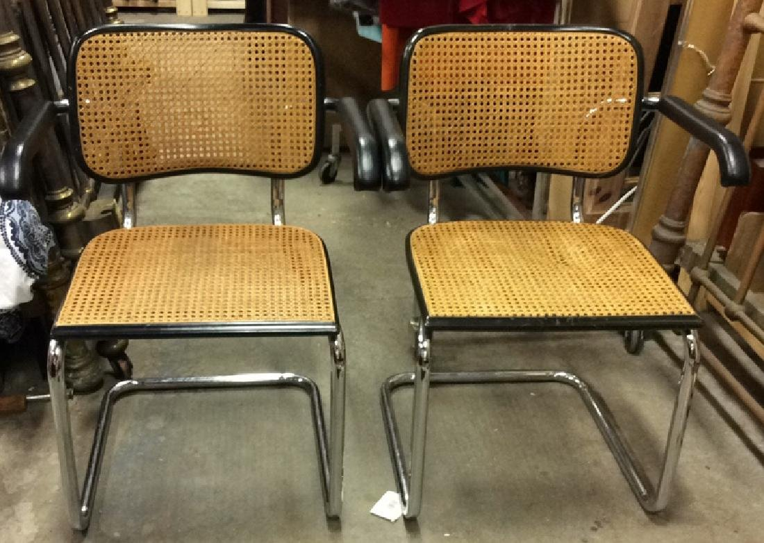 Pair Vintage Chrome and Cane Brueur Chairs