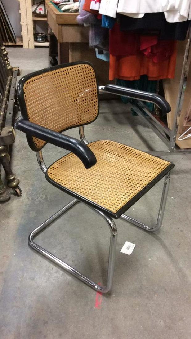 Pair Vintage Chrome and Cane Brueur Chairs - 2