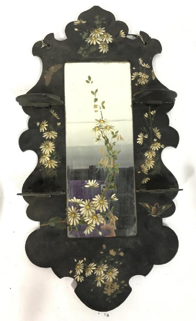 Black Toned Framed Painted Mirror W Shelves