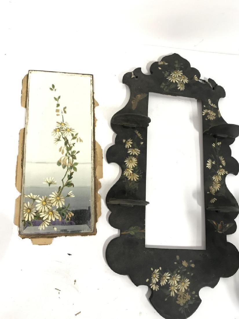 Black Toned Framed Painted Mirror W Shelves - 6
