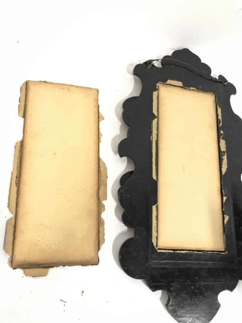 Black Toned Framed Painted Mirror W Shelves - 7