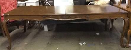 Vintage Carved Wooden Spilt Leaf Dining Table