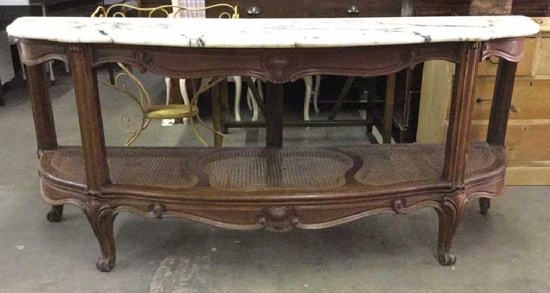 Antique Semi Circ  Marble Top Console Table Buffet