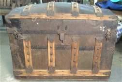 Antique Wooden  Metal Chest Trunk Storage