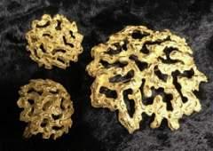 Set 3 TRIFARI Brooch Pin and Matching Earrings