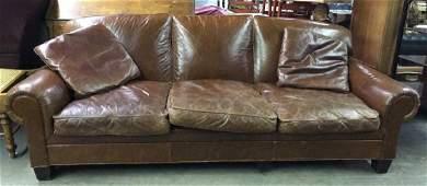 RALPH LAUREN Brown Toned Leather Sofa