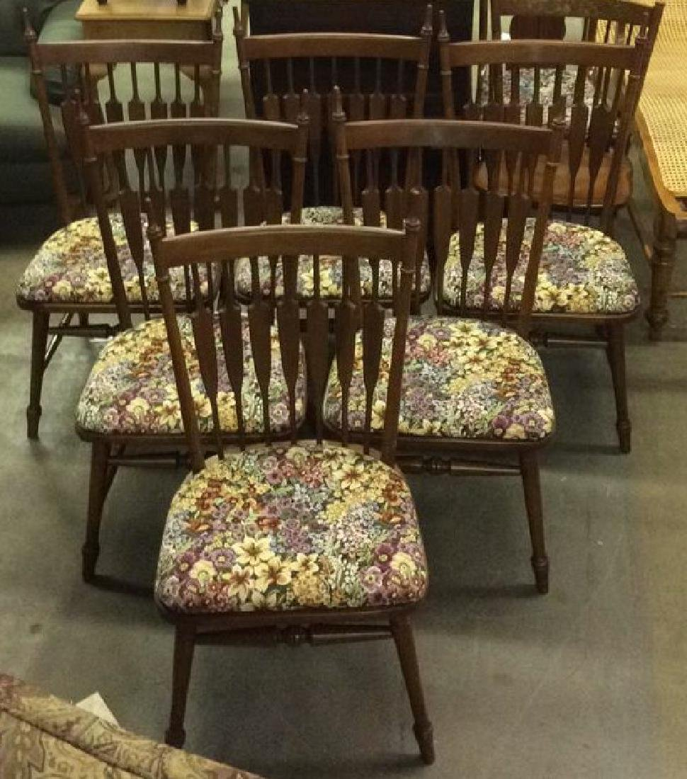 6 Tell City Wood Mid Century Modern Dining Chairs
