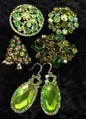 Green Toned Rhinestone Jewelry