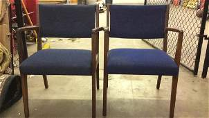 Lot 2 Blue Toned Upholstered Danish Modern Chairs