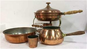 Lot4 Copper and Copper Toned Metal Cookware