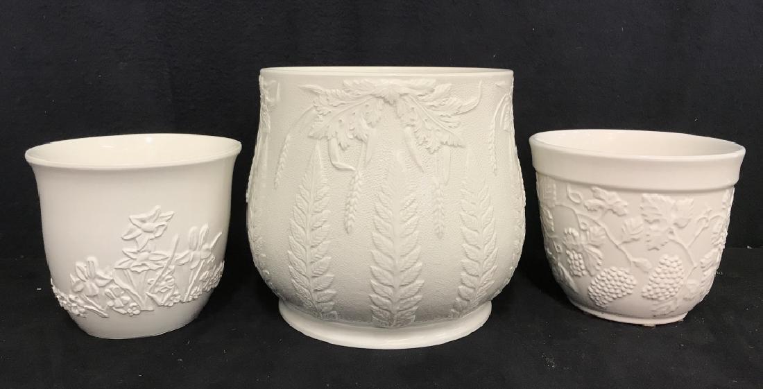 Lot 3 White Ceramic Planter Pots W Raised Design