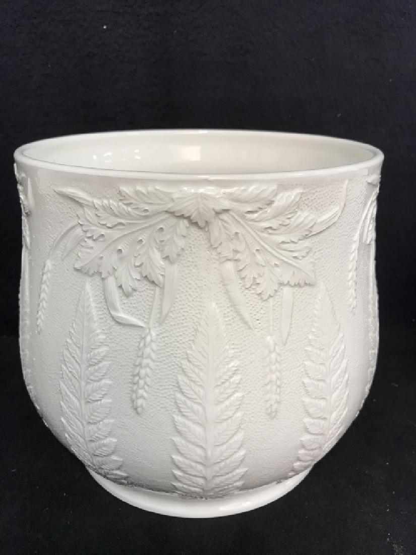 Lot 3 White Ceramic Planter Pots W Raised Design - 2