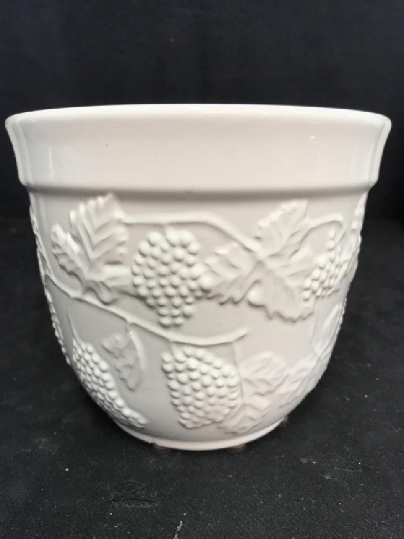 Lot 3 White Ceramic Planter Pots W Raised Design - 3