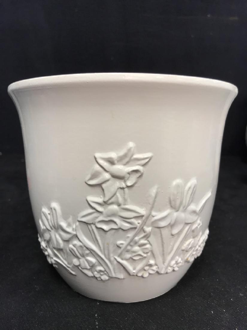 Lot 3 White Ceramic Planter Pots W Raised Design - 4