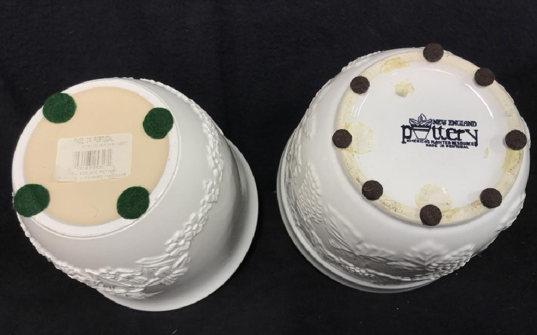 Lot 3 White Ceramic Planter Pots W Raised Design - 5