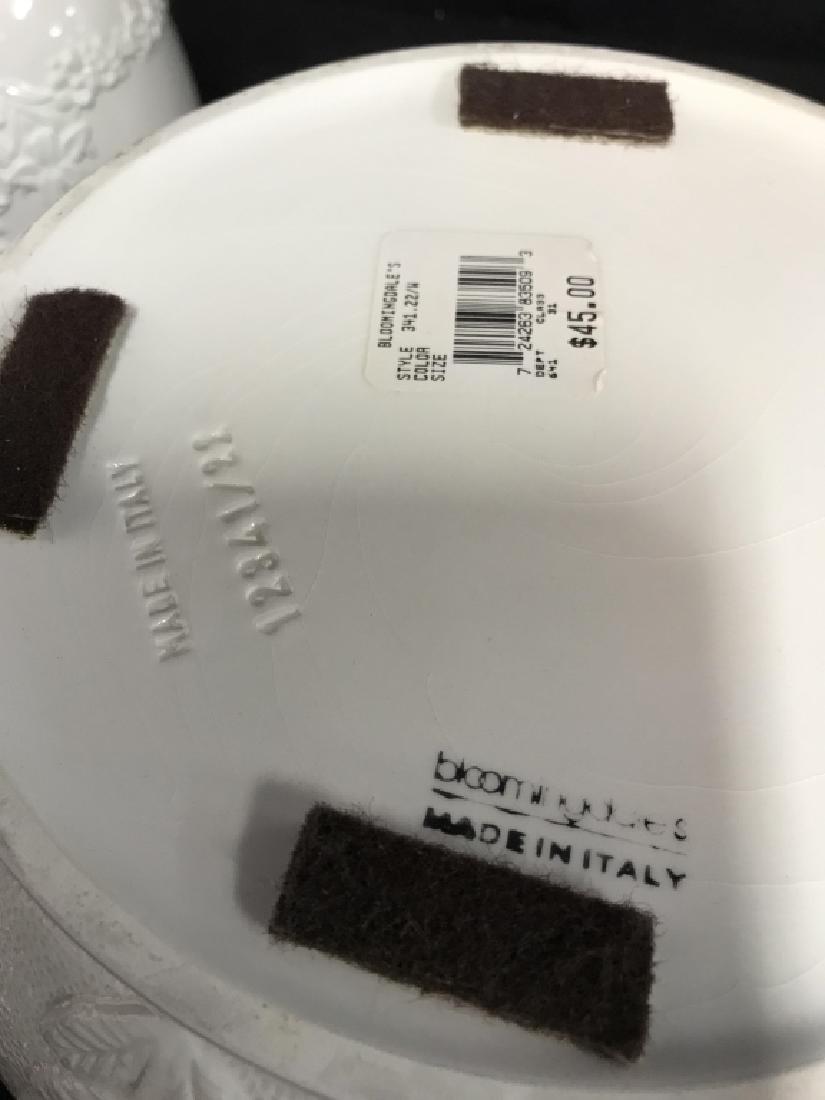 Lot 3 White Ceramic Planter Pots W Raised Design - 6