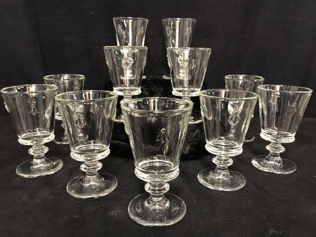 Set of 11 French Paris Musees Bee Wine Glasses