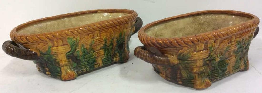 Pair Ceramic Baskets Cache Pots Vessels