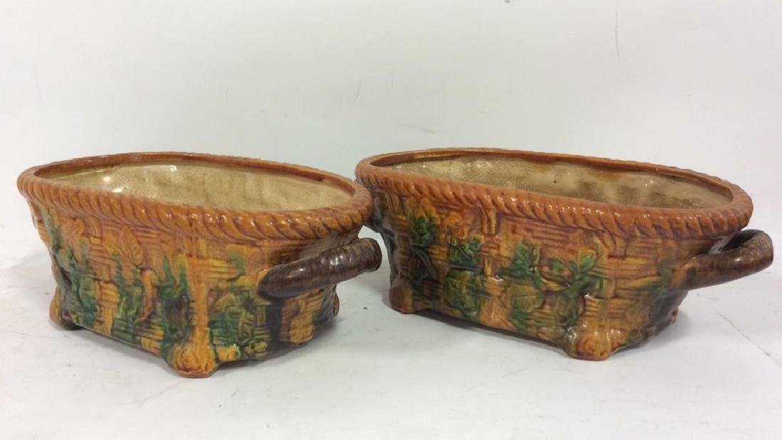 Pair Ceramic Baskets Cache Pots Vessels - 2