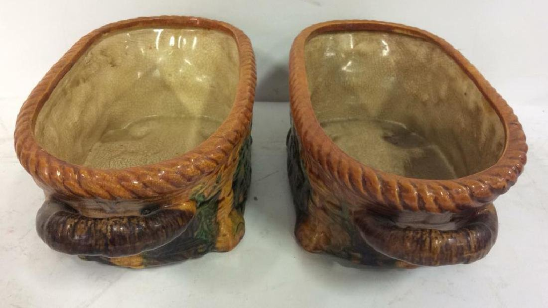 Pair Ceramic Baskets Cache Pots Vessels - 3