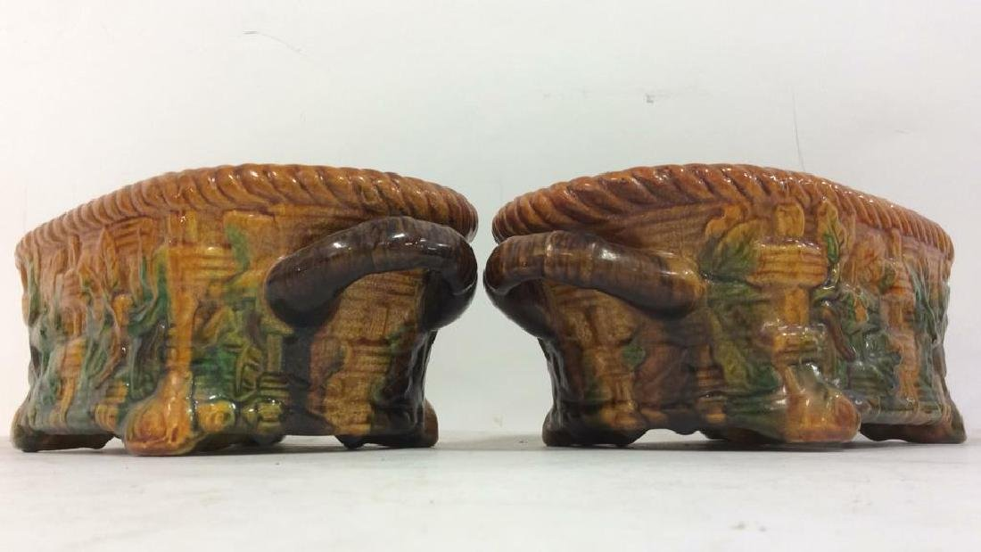 Pair Ceramic Baskets Cache Pots Vessels - 4