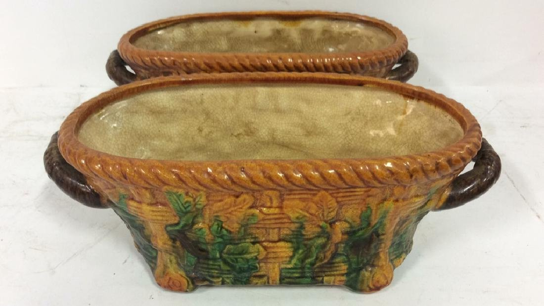 Pair Ceramic Baskets Cache Pots Vessels - 5