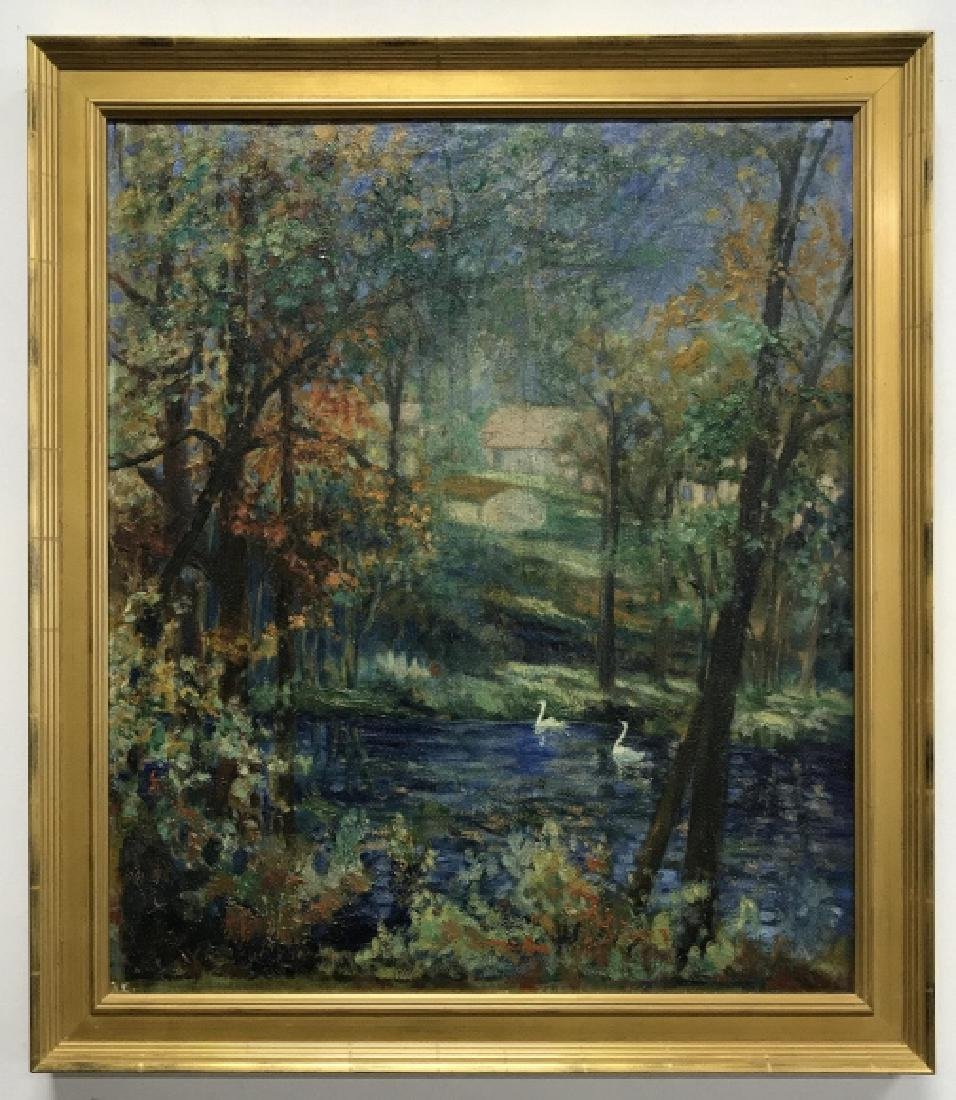 Hal Robinson Signed Oil on Panel Swans