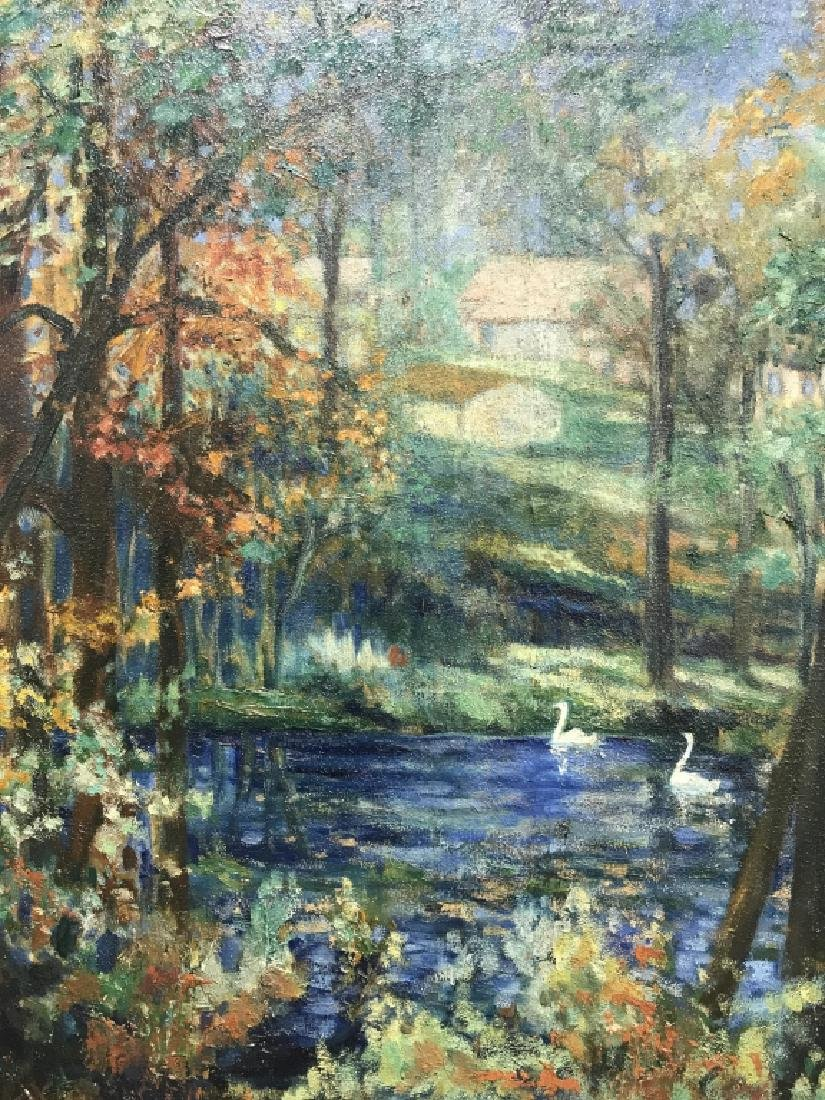 Hal Robinson Signed Oil on Panel Swans - 2