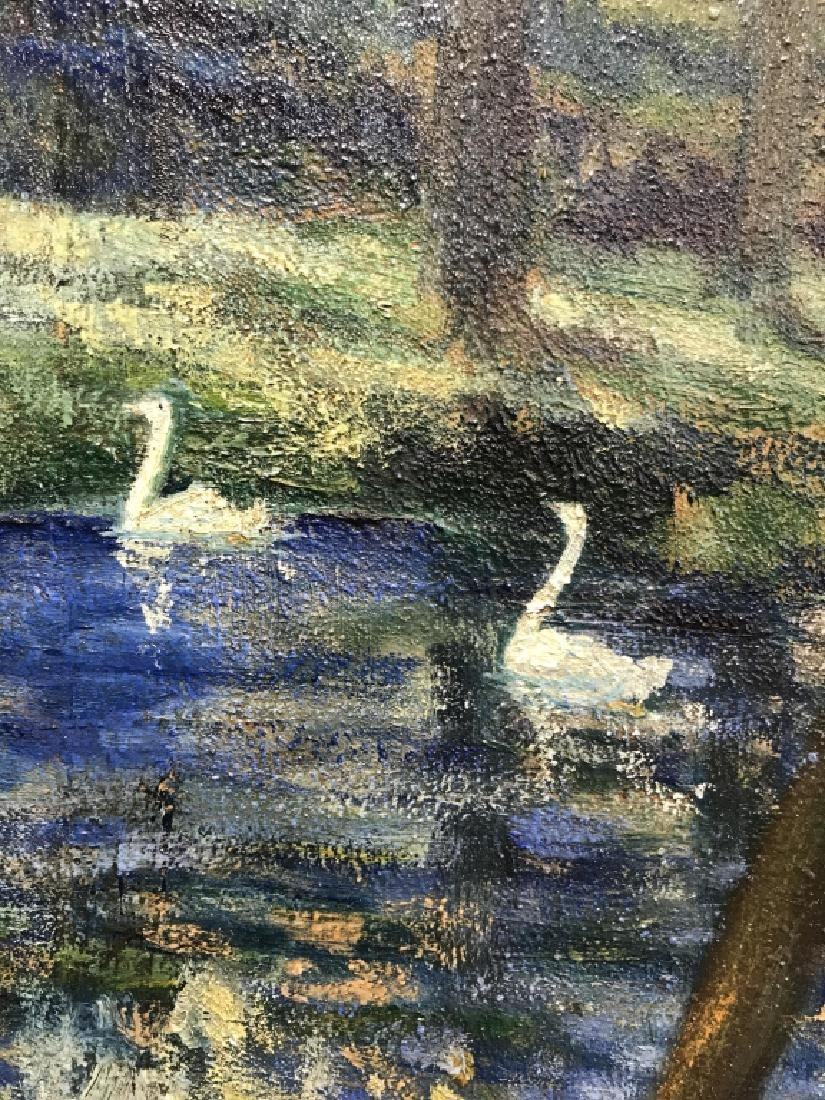 Hal Robinson Signed Oil on Panel Swans - 3