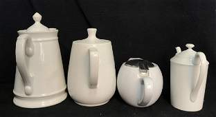 Group Ceramic White Coffee Tea Pots