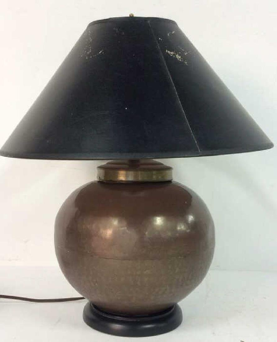 Copper Toned Metal Orb Lamp With Shade