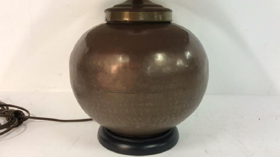 Copper Toned Metal Orb Lamp With Shade - 2