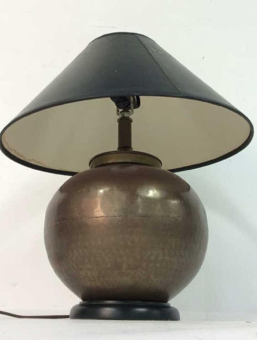 Copper Toned Metal Orb Lamp With Shade - 3