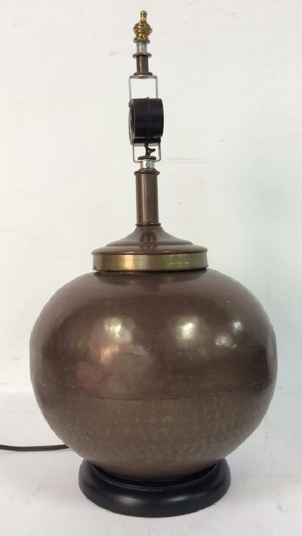 Copper Toned Metal Orb Lamp With Shade - 4