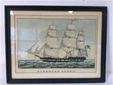 Framed Print Repro Of N Currier Ship Lithograph