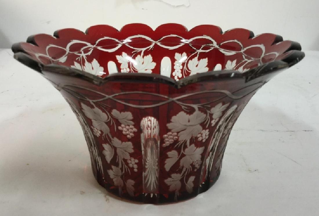 Etched Cut Vintage Cranberry Glass Vase - 2