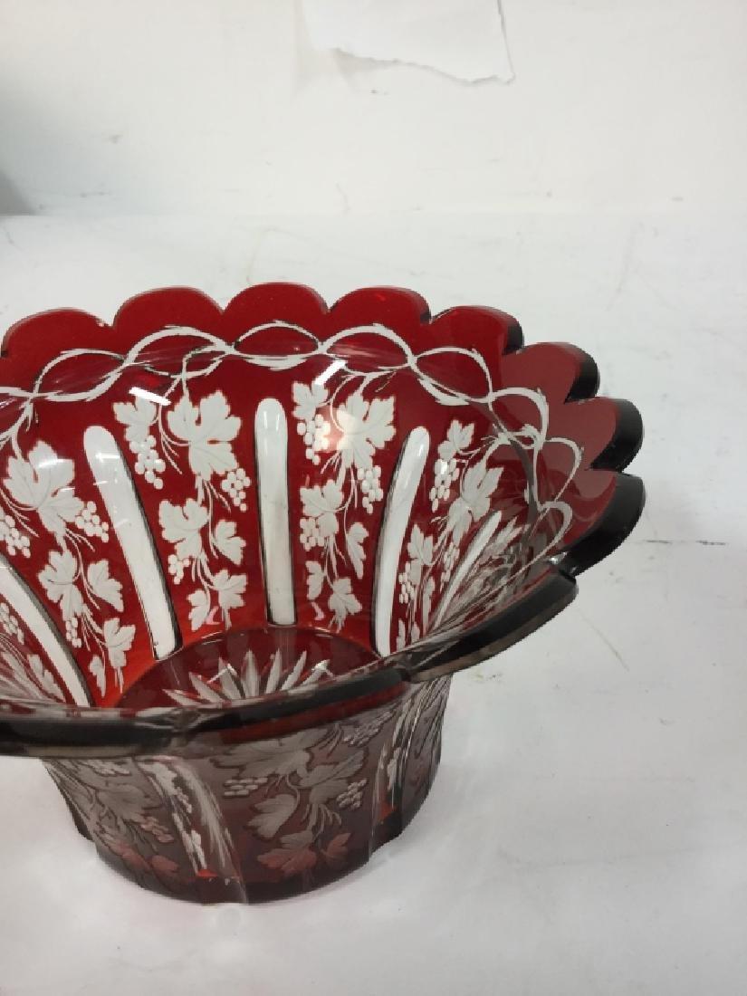 Etched Cut Vintage Cranberry Glass Vase - 3