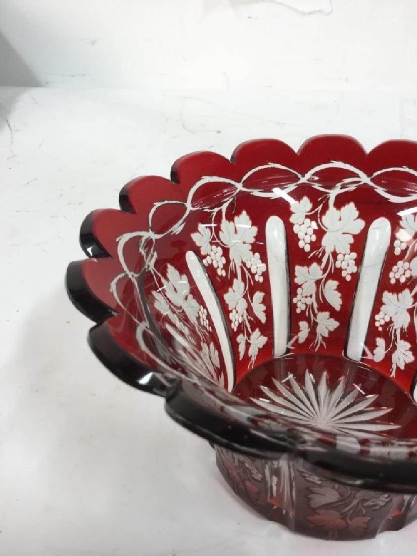 Etched Cut Vintage Cranberry Glass Vase - 4