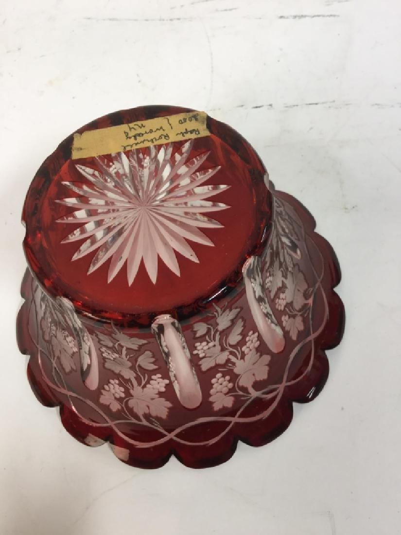 Etched Cut Vintage Cranberry Glass Vase - 5