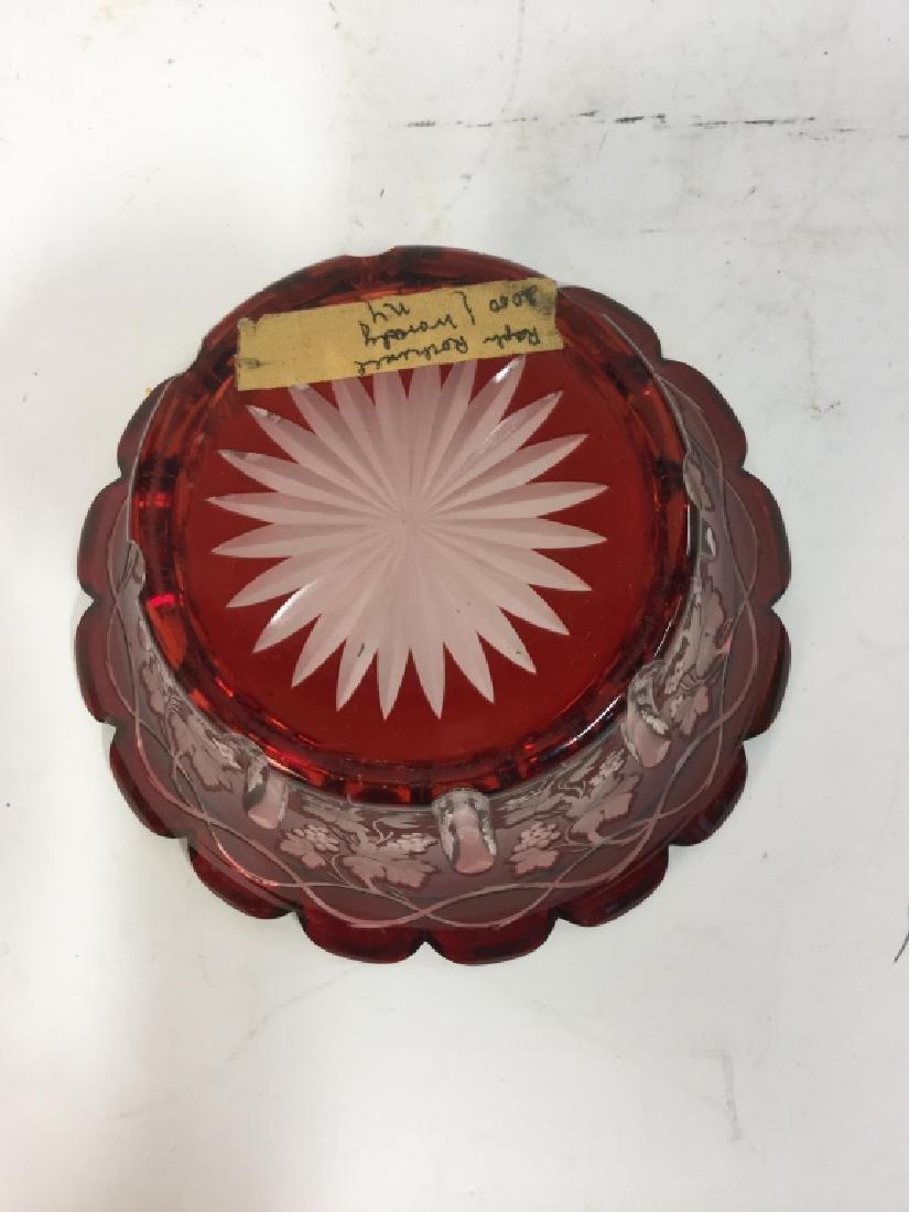 Etched Cut Vintage Cranberry Glass Vase - 6